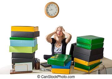mulher, trabalhando, cansado