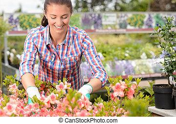mulher, trabalhando, com, flores potted, centro jardim