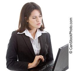 mulher, trabalhando, laptop, isolado, fundo, branca