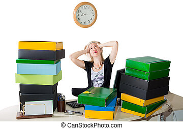 mulher, trabalho, cansado