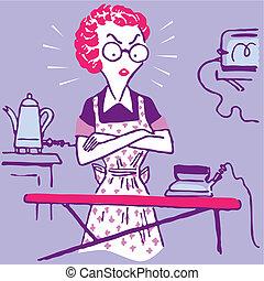mulher, trabalho casa, doméstico, dona de casa, vetorial, ilustração, lar, caricatura
