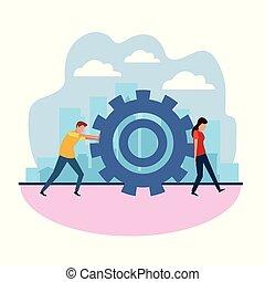 mulher, trabalho equipe, homem, conceito, avatar, roda, engrenagem, empurrar