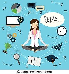 mulher, trabalho, escritório, negócio, após, trabalhador, ou, relaxa