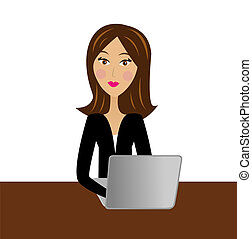mulher, trabalho, escritório negócio