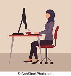 mulher, trabalho, escritório, negócio, muçulmano, personagem, árabe, vetorial, escrivaninha