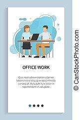 mulher, trabalho, escritório, sentando, slider, tabela, homem