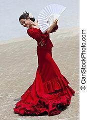 mulher, tradicional, dançarino, ventilador, espanhol,...
