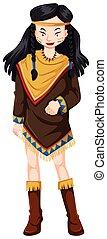 mulher, tradicional, indian americano, traje, nativo