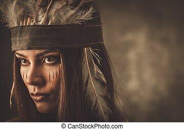 mulher, tradicional, indianas, rosto, headdress, pintura