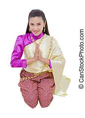mulher, tradicional, tailandês, sentando, vestido, bonito