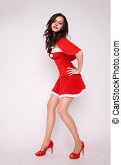 mulher, traje, elegante, excitado, xmas, vermelho