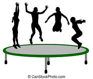 mulher, trampoline