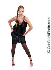 mulher, trança, desgastar, wlong, vestido