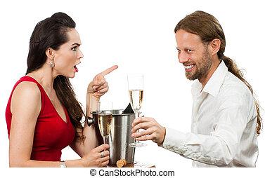 mulher, transtorne, com, flertar, namorado