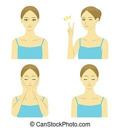 mulher, tratamento, facial