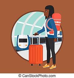 mulher, trem, station.