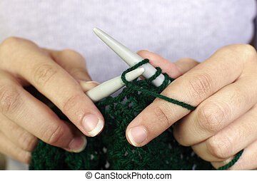 mulher, tricotando, roupas