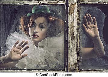 mulher, triste, pierrot, vidro, atrás de, só