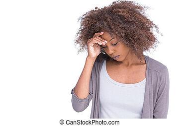 mulher triste, segurando, dela, testa, com, dela, mão