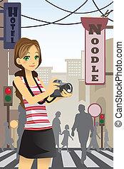 mulher, turista