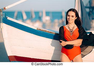 mulher, turista, vindima, relaxado, logo, bote
