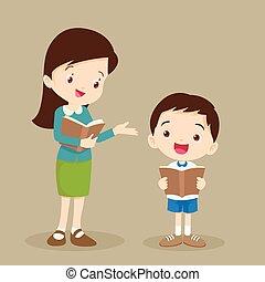 mulher, tutoring, professor, leitura estudante