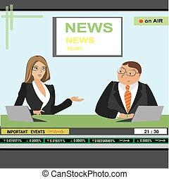 mulher, tv, cabeçalho, âncora notícia, homem