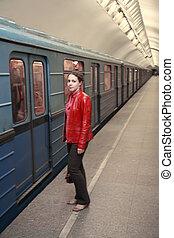 mulher, um, metro, trem