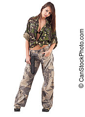 mulher, uniforme militar