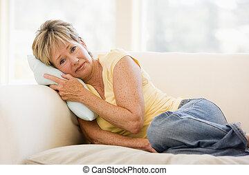 mulher, unwell sentimento