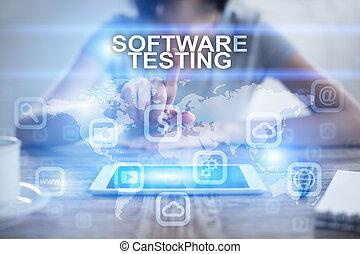 mulher, usando, pc tabela, apertando, ligado, virtual, tela, e, selecionar, software, testar