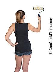 mulher, usando, pintar rolo