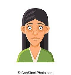 mulher, userpic, jovem, experiência., vetorial, avatar, retrato, branca