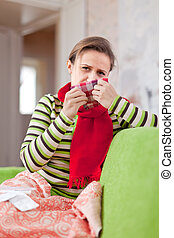 mulher, usos, doente, lenço