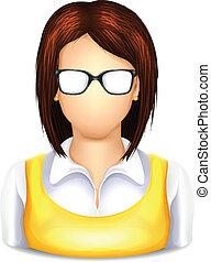 mulher, usuário, óculos, ícone