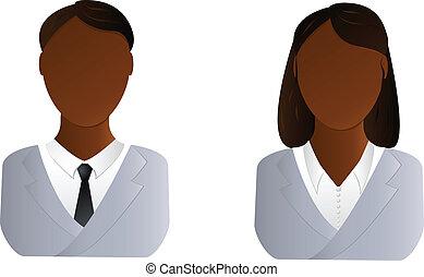 mulher, usuários, -, dois, homem africano, ícone
