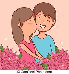 mulher, valentines, celebração, flores, dia, homem
