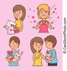 mulher, valentines, jogo, coelho, homem, dia, celebração