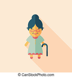 mulher velha, apartamento, ícone, com, longo, sombra