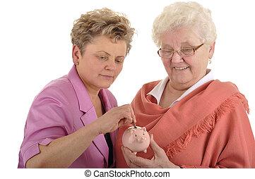 mulher velha, poupar, pensão