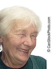 mulher velha, rir