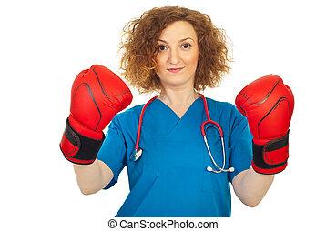 mulher, vencedor, doutor