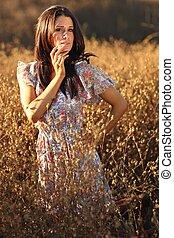 mulher, verão, campo, bonito