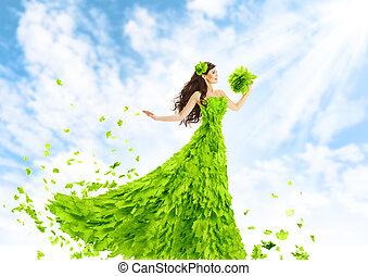 mulher, verde sai, vestido, natureza, moda, beleza, menina, em, folha, vestido