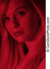 mulher, vermelho