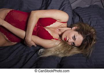mulher, vermelho, buquê