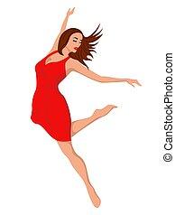 mulher, vermelho, dançarino
