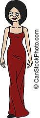 mulher, vermelho, engraçado, vestido