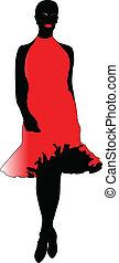 mulher, vermelho, moda, vestido
