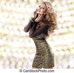 mulher, vestido, beleza, ouro